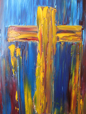 Cross Painting - Abstract Cross by Rachael Pragnell