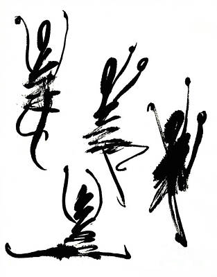 Ink Painting - Abstract Dancers In Black And White by Kerstin Ivarsson