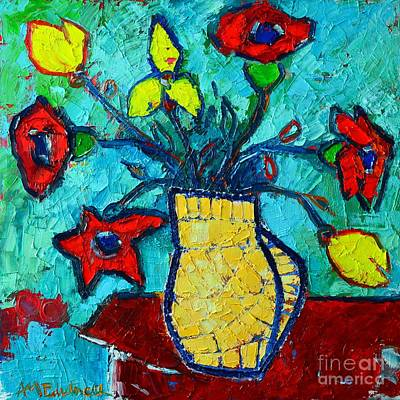 Bouquets Of Pink Flowers Green Blue Painting - Abstract Dancing Flowers by Ana Maria Edulescu