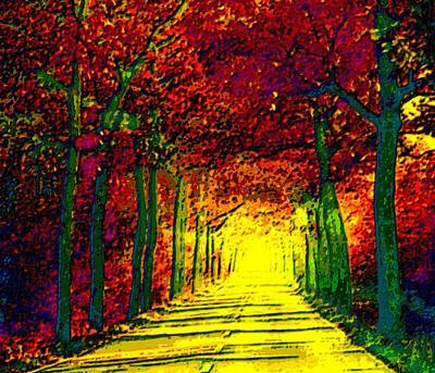 Country Lanes Mixed Media - Abstract Decorative Hazy French Autumn Drive II by L Brown