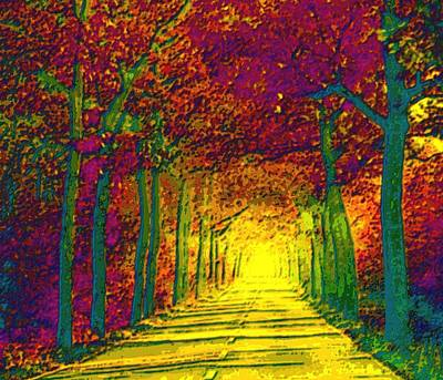 Abstract Decorative Hazy French Autumn Drive Print by L Brown