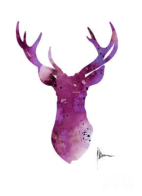 Abstract Deer Head Artwork For Sale Print by Joanna Szmerdt
