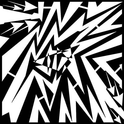Abstract Distortion Tear In Time Space Maze  Print by Yonatan Frimer Maze Artist