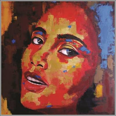 With Pallet Knife Painting - Girl Of Many Colour by Sunil Pillania