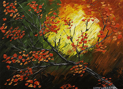 Maple Season Painting - Abstract Fall Tree Painting by Keith Webber Jr