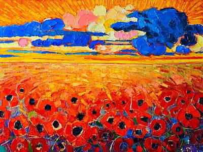 Morning Light Painting - Abstract Field Of Poppies Under Cloudy Sunset  by Ana Maria Edulescu