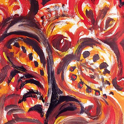 Hotel Painting - Abstract Floral Khokhloma Seed Pod by Irina Sztukowski