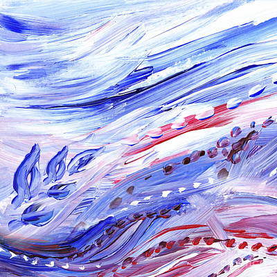 Energetic Painting - Abstract Floral Marble Waves by Irina Sztukowski
