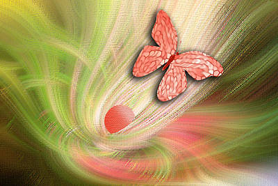 Abstract Floral With Butterfly Original by Linda Phelps