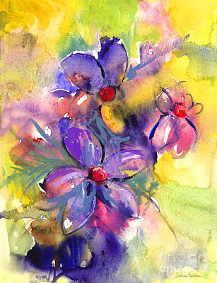 Nature Abstract Drawing - abstract Flower botanical watercolor painting print by Svetlana Novikova