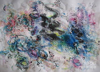 Abstract Flower Field Painting Blue Pink Green Purple Black Landscape Painting Modern Acrylic Pastel Print by Seon-Jeong Kim