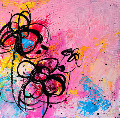 Colorful Abstract Drawing - Abstract Flowers Silhouette 1 by Patricia Awapara