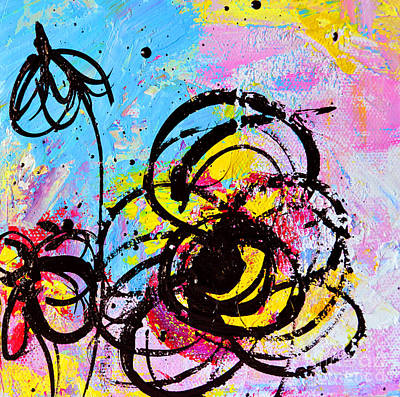 Abstract Flowers Silhouette 2 Print by Patricia Awapara