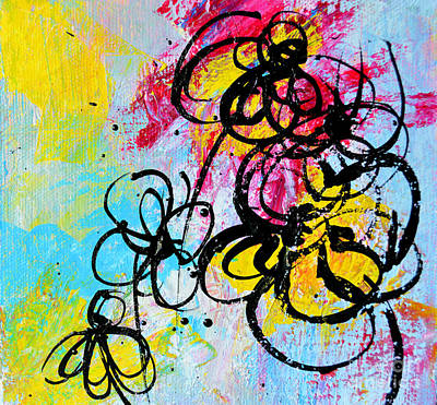 Colorful Abstract Drawing - Abstract Flowers Silhouette 5 by Patricia Awapara