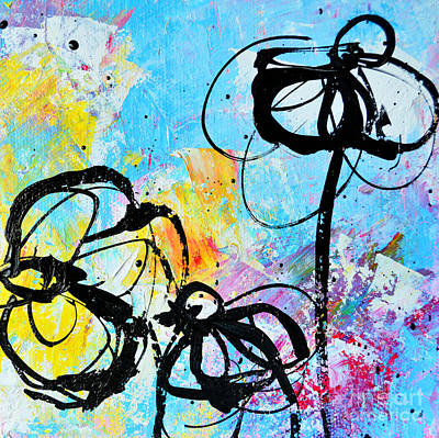 Colorful Abstract Drawing - Abstract Flowers Silhouette 6 by Patricia Awapara