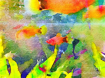 Goldfish Digital Art - Abstract Goldfish Fish Bowl Aquarium Watercolor 1 by Beverly Claire Kaiya