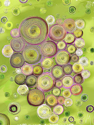 Green Color Painting - Abstract Grapes by Veronica Minozzi