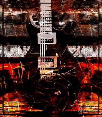 Vibrating Digital Art - Abstract Guitar Into Metal by Nola Lee Kelsey