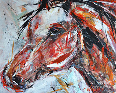 Wild Horse Painting - Abstract Horse 2 by Cher Devereaux