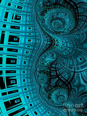 Abstract Shapes Digital Art - Abstract In Blue And Black by John Edwards