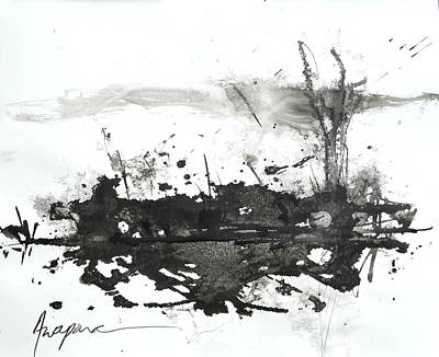 Ink On Paper Painting - Modern Abstract Black Ink Art by Patricia Awapara