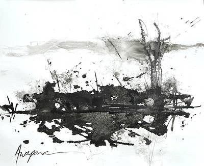 Modern Abstract Black Ink Art Print by Patricia Awapara
