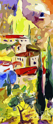 Italian Landscape Mixed Media - Abstract Italy Lago Di Como by Ginette Callaway