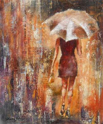 Abstract Handbag Painting - Abstract Lady 3  by Susan Goh