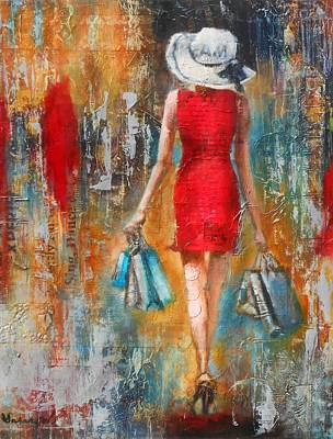 Abstract Handbag Painting - Abstract Lady 6 by Susan Goh