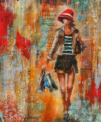 Abstract Handbag Painting - Abstract Lady 7 by Susan Goh