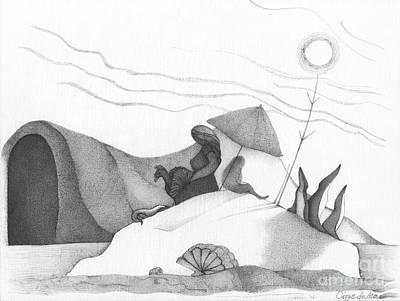 Abstract Landscape Art Black And White Beach Cirque De Mor By Romi Print by Megan Duncanson
