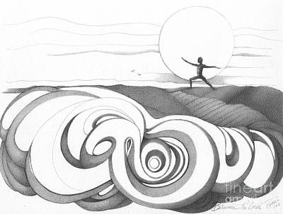 Abstract Landscape Art Black And White Yoga Zen Pose Between The Lines By Romi Print by Megan Duncanson