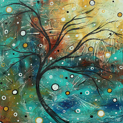 Textured Painting - Abstract Landscape Art Original Colorful Heavy Textured Painting Cracked Facade By Madart by Megan Duncanson