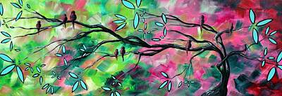 Lime Tree Painting - Abstract Landscape Bird And Blossoms Original Painting Birds Delight By Madart by Megan Duncanson