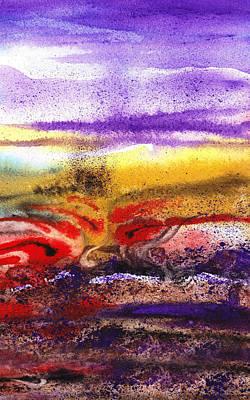 Hotel Painting - Abstract Landscape Purple Sunrise Earthy Swirl by Irina Sztukowski