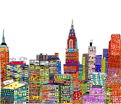 Empire State Building Mixed Media - Abstract Living New York City by Bri B