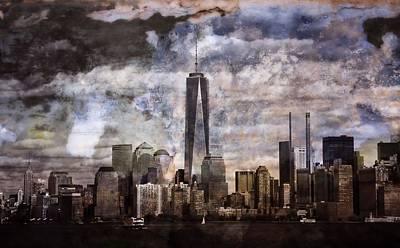 New York City Skyline Mixed Media - Abstract Manhattan Skyline by Dan Sproul