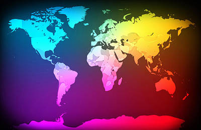 Abstract Map Of The World Print by Michael Tompsett