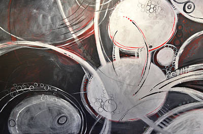 Sphere Painting - Abstract Modern Black White Grey Painting...encircled by Amy Giacomelli