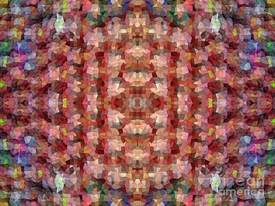 Gradations Digital Art - Abstract Mosaic In Red Rainbow by Beverly Claire Kaiya