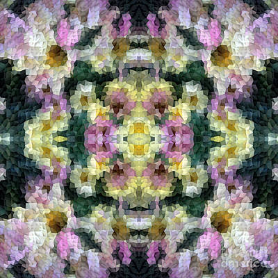 Gradations Digital Art - Abstract Mosaic In Yellow Pink Green by Beverly Claire Kaiya