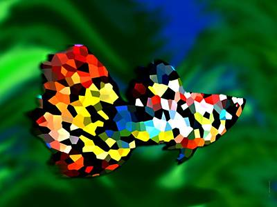 Horizontal Digital Art - Abstract Multicolor Fish by Mario Perez