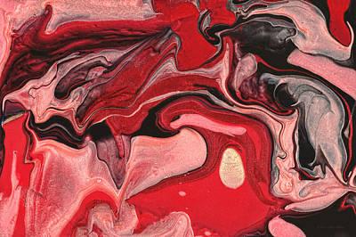 Salmon Painting - Abstract - Nail Polish - Raspberry Nebula by Mike Savad