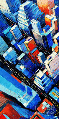 Rooftops Painting - Abstract New York Sky View by Mona Edulesco