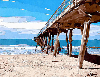Abstract Ocean Pier Print by Phil Perkins