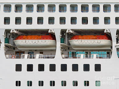 Abstract Of Lifeboats On A Large Cruise Ship Print by Stephan Pietzko