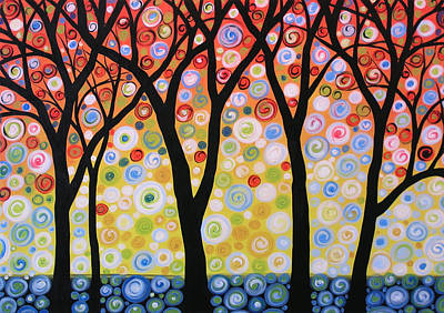 Abstract Night Sky Painting - Abstract Original Modern Trees Landscape Print Painting ... Joyous Sky by Amy Giacomelli