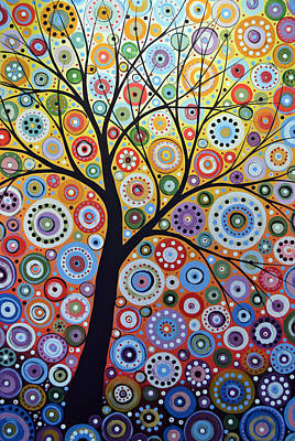 Lively Painting - Abstract Original Tree Art Painting ... Sun Arising by Amy Giacomelli