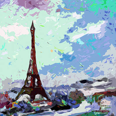 Eiffel Tower Mixed Media - Abstract Paris Memories In Blue by Ginette Callaway