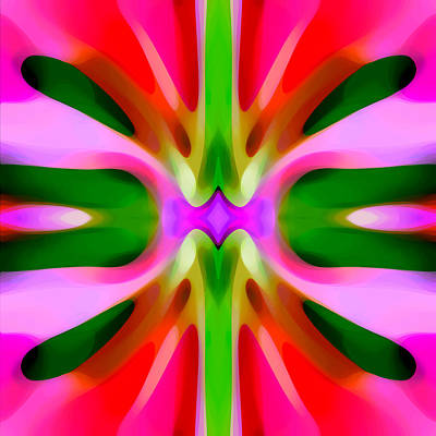 Contemporary Painting - Abstract Pink Tree Symmetry by Amy Vangsgard